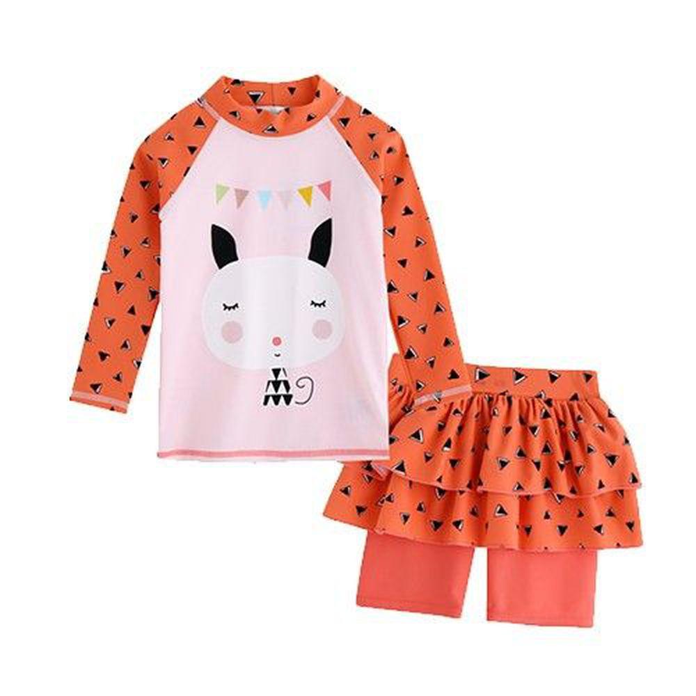 韓國 Vaenaitbaby - (抗UV)防曬泳裝-蛋糕褲裙-橘子貓