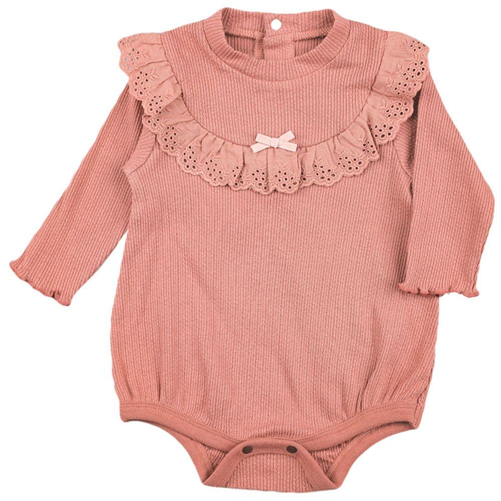 akachan honpo - 長袖外出包屁衣-粉紅色 (80cm)