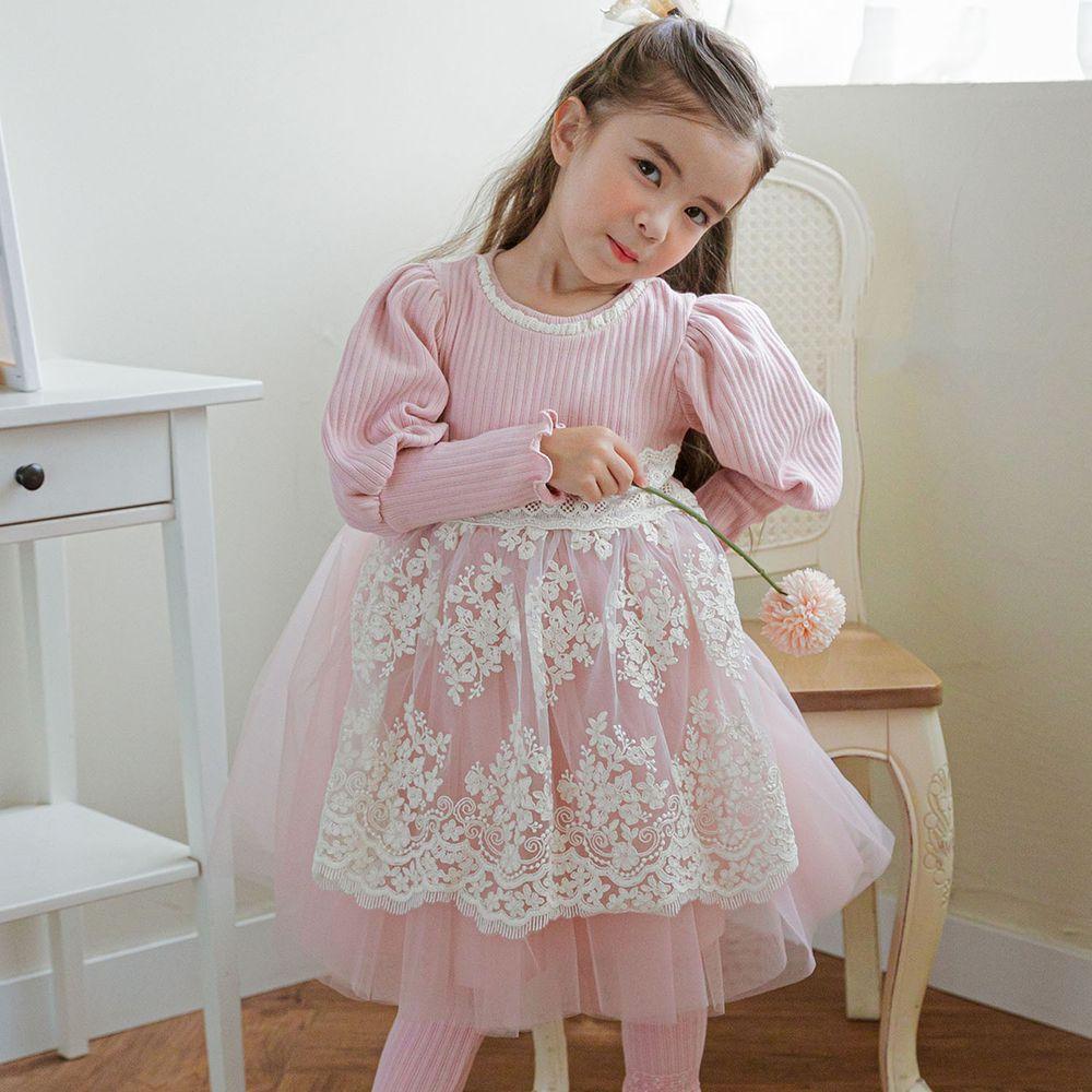 韓國 Mari an u - 透膚蕾絲假圍裙針織上衣網紗洋裝-粉紅