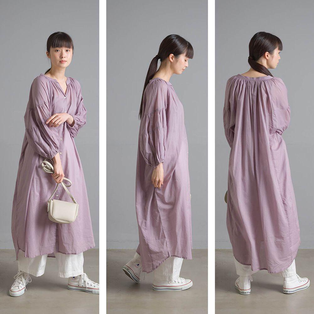 日本 OMNES - 清涼薄透感純棉長袖中山領襯衫洋裝/外套-紫