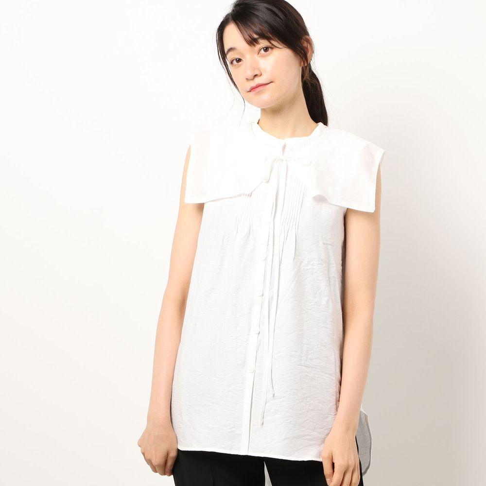 日本 Riche Glamour - 輕薄無袖襯衫+綁帶大領片兩件組-白