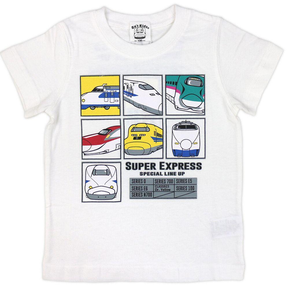 日本服飾代購 - 純棉印花短袖上衣-新幹線7圖鑑-白