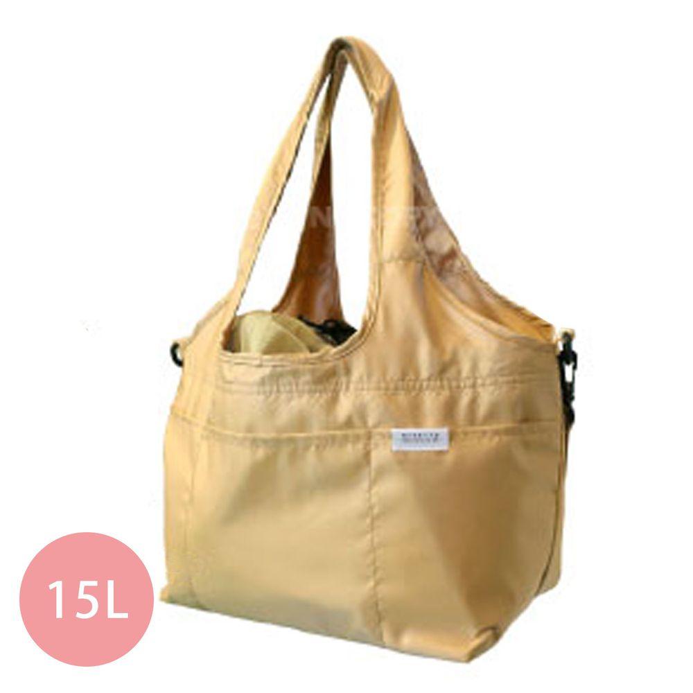 日本 Big Bee - 保冷可折疊購物袋(可裝購物籃)-杏-15L