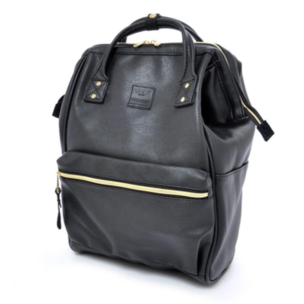日本 Anello - 日本大開口皮革後背包-Regular大尺寸-BK黑色