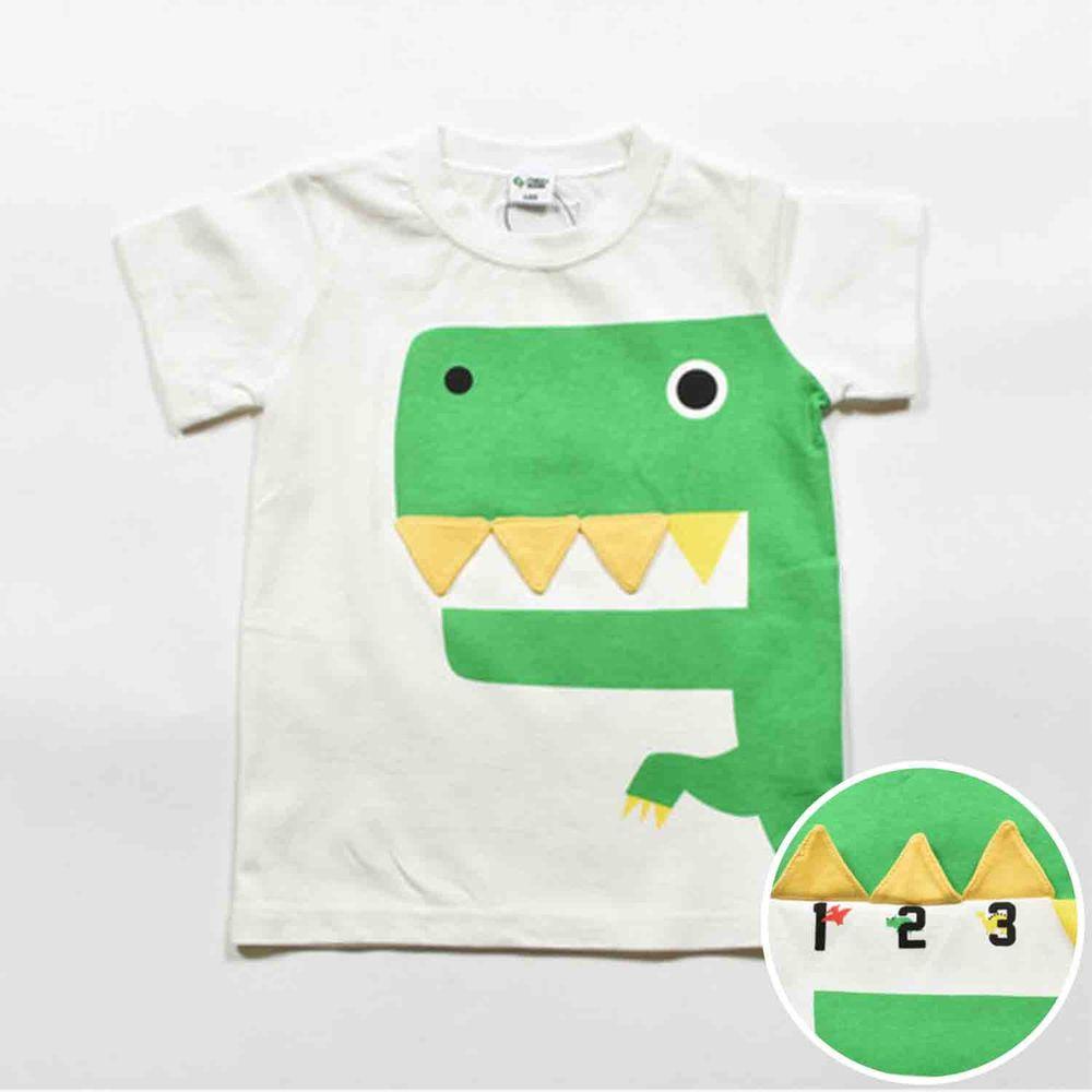 日本 Baby Room - (現貨剩100cm)立體翻翻樂短袖上衣-大嘴恐龍-白