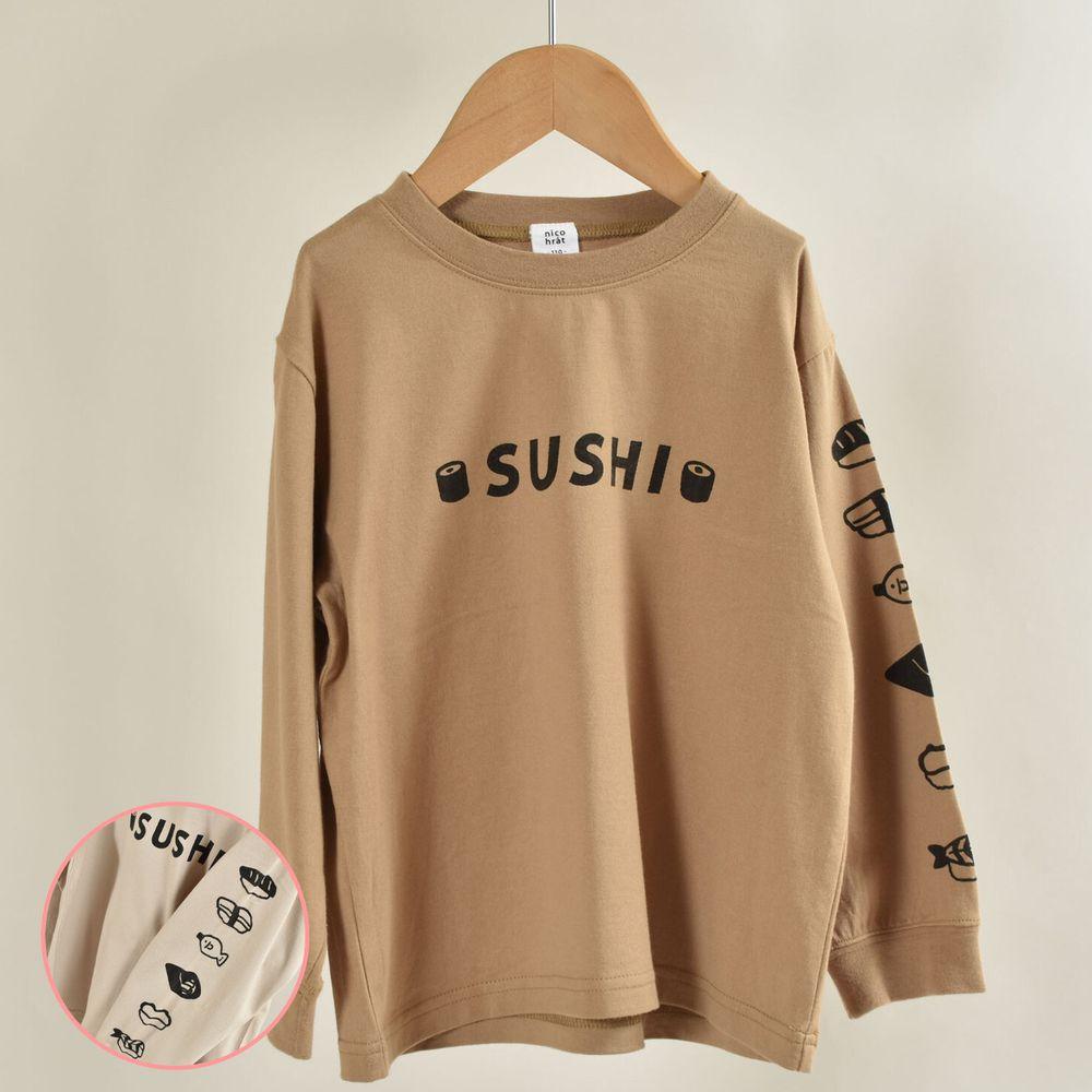 日本 Baby Room - 印花純棉長袖上衣-壽司排排站-砂褐