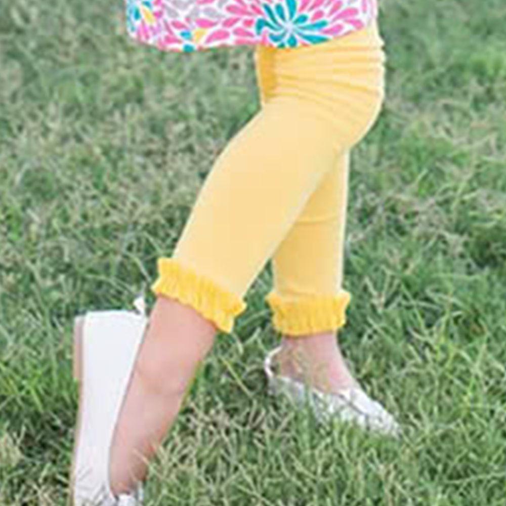 美國 RuffleButts - 小公主甜美荷葉邊內搭褲(襪)-黃色 (6-12M)