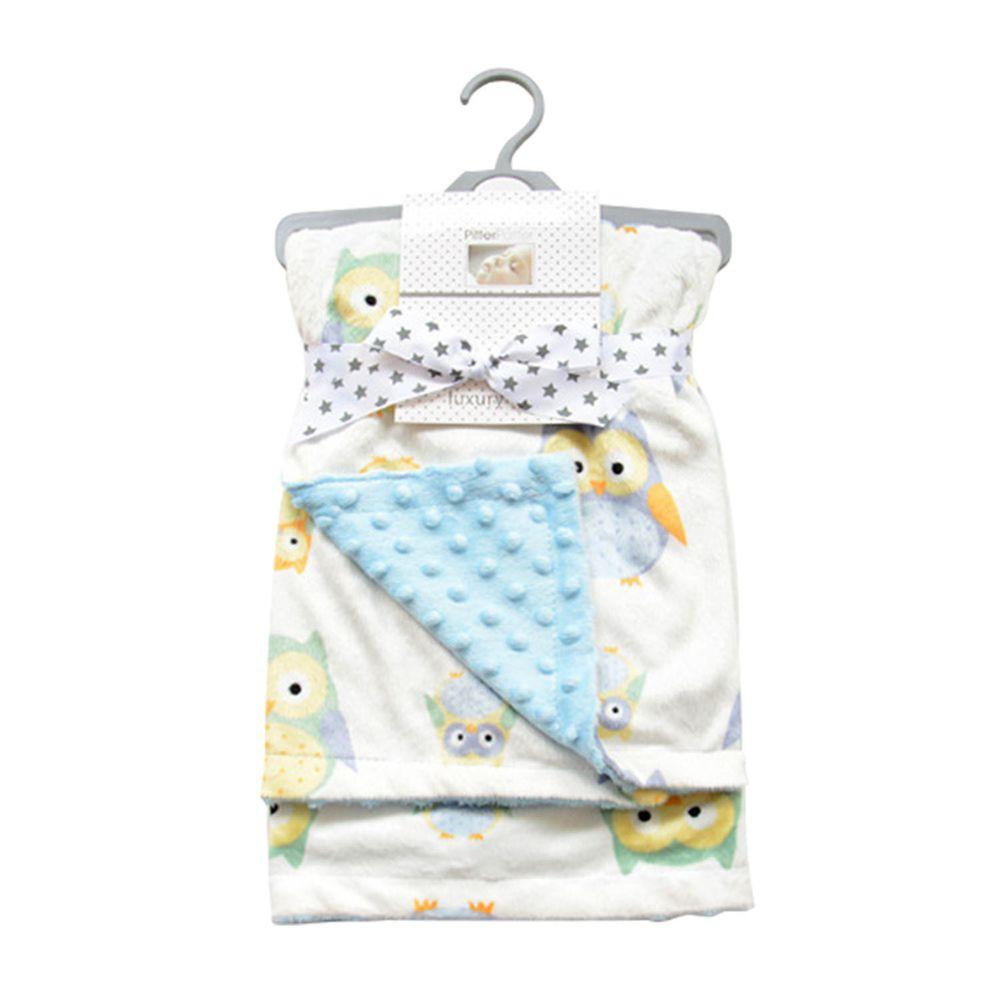 JoyNa - 雙層印花保暖蓋毯 包巾-天藍貓頭鷹 (75*120cm)