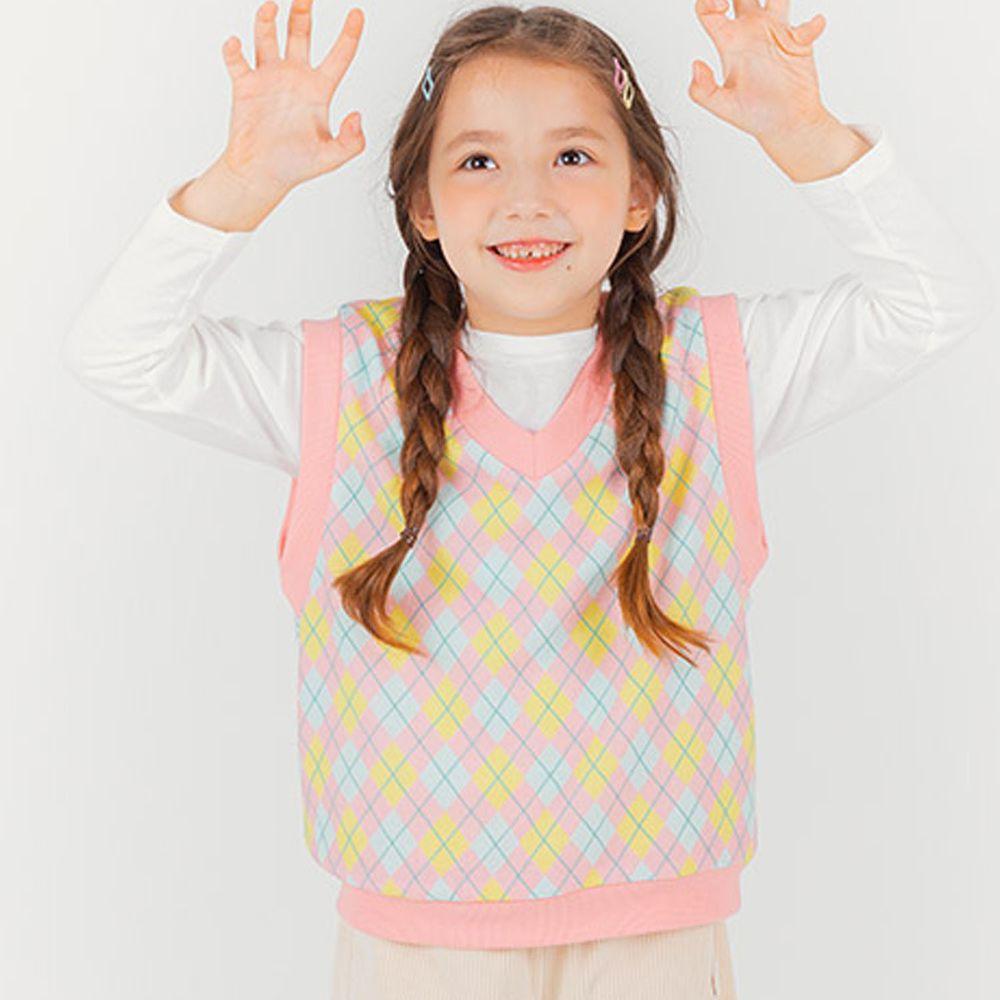 韓國 OZKIZ - 菱格紋針織背心-粉紅