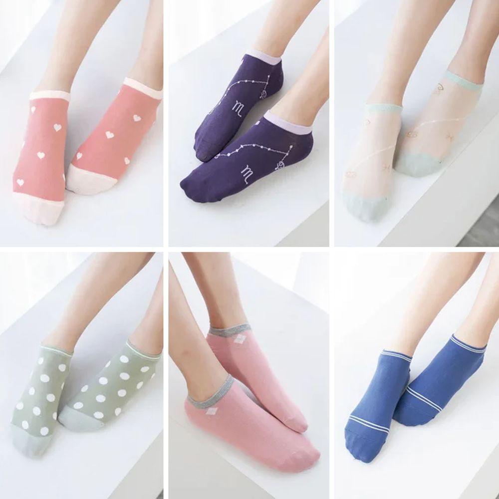 貝柔 Peilou - 貝柔消臭精梳棉-船型襪(6雙組)-6款各一雙-隨機色 (22-26cm)