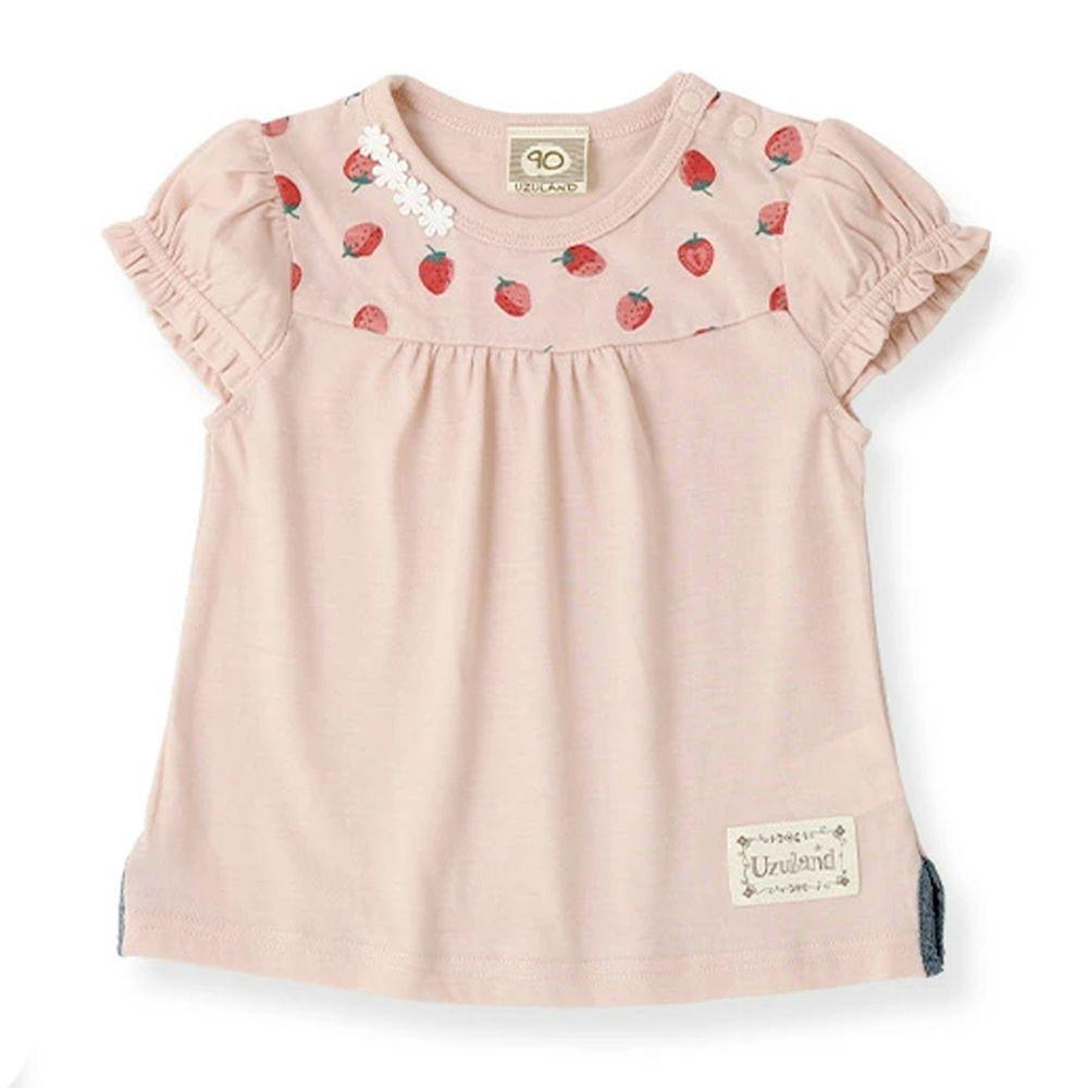 日本 ZOOLAND - 純棉印花短T-B領口草莓-粉