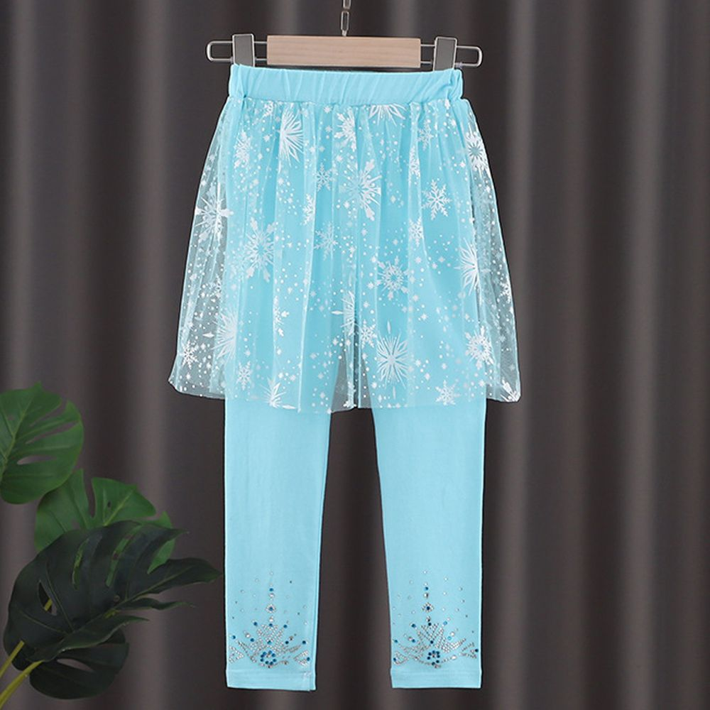 修身造型內搭褲-紗裙款-冰雪藍
