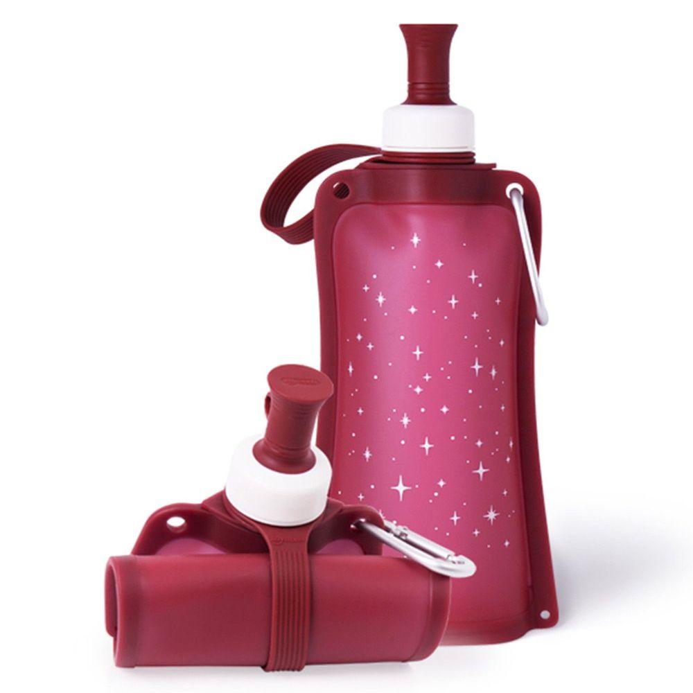 韓國 sillymann - 100%鉑金矽膠簡約便攜捲式水瓶-星空紅-550ml