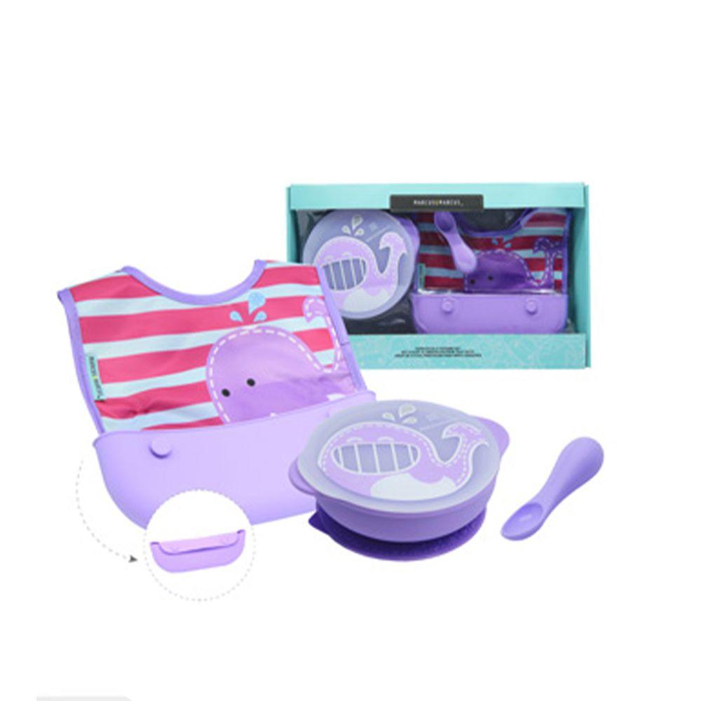 MARCUS&MARCUS - 動物樂園自主用餐學習禮盒組-紫鯨魚