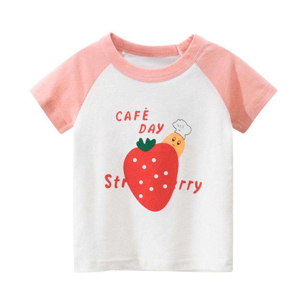純棉短袖上衣-草莓-米白/粉紅