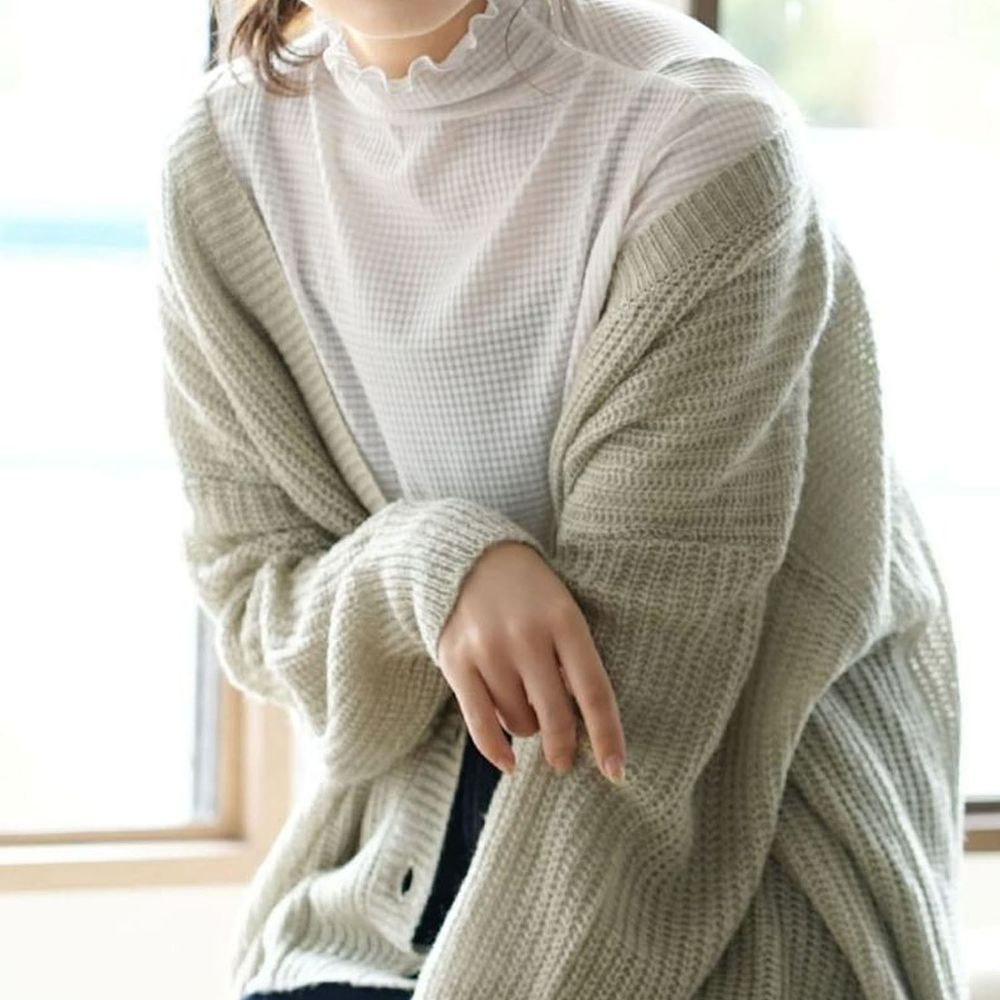 日本 zootie - 透明立體格子紋木耳邊透膚輕薄長袖上衣-米