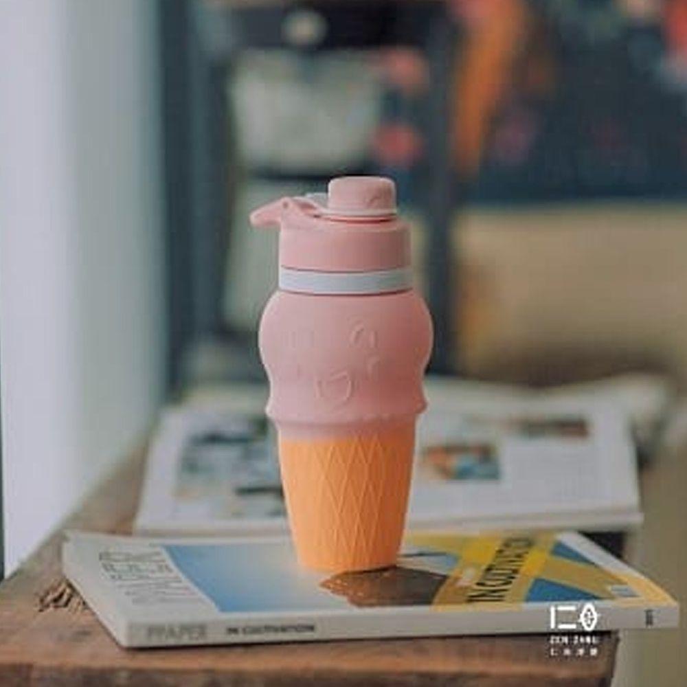 仁舟淨塑 - 甜筒矽水杯-粉草莓