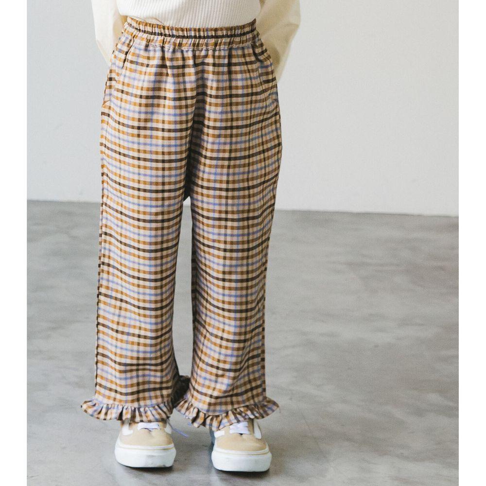 日本 PAIRMANON - 荷葉造型寬褲-格紋-杏藍