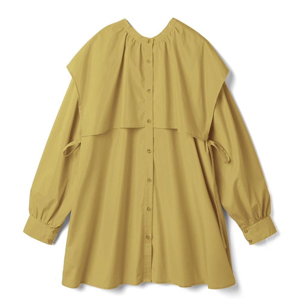 日本 GRL - 側蝴蝶結綁帶大方領長袖短版洋裝-芥末黃