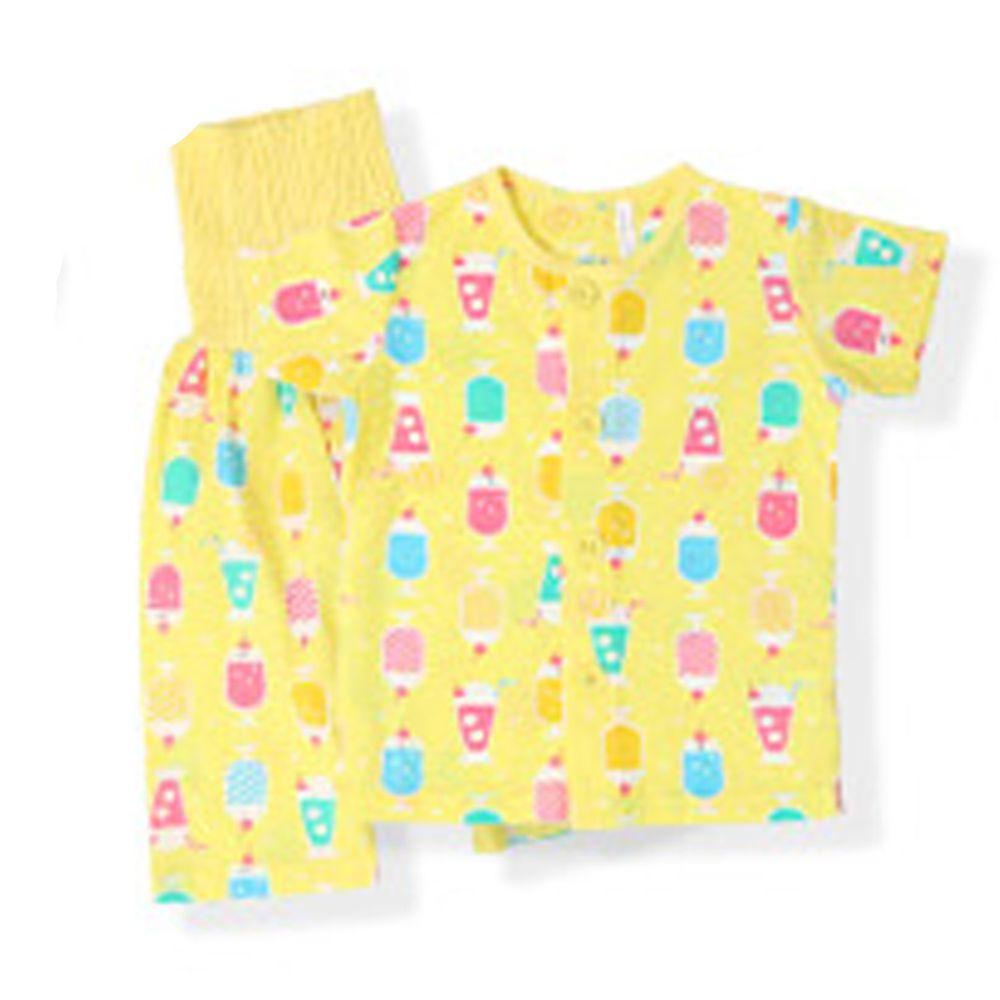 日本 ZOOLAND - 涼感 100%棉腹卷家居服(短袖+七分褲)-清涼冰品-黃