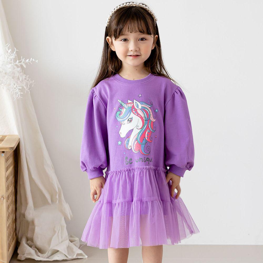 韓國 ERU - 童話獨角獸網紗拼接洋裝-紫