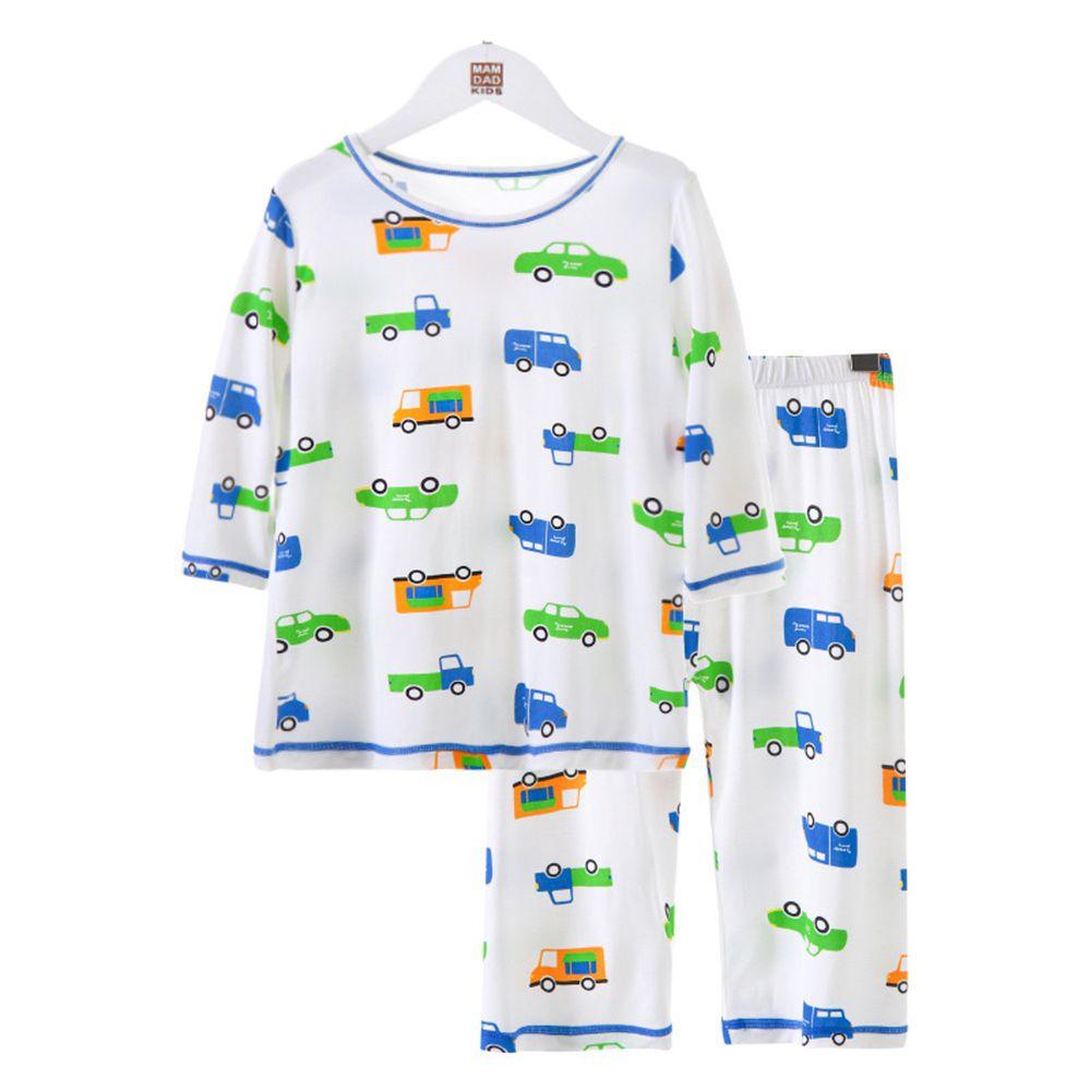 莫代爾七分袖套裝/家居服-滿版汽車-白色