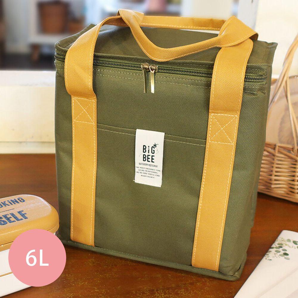 日本 Big Bee - 保冷便當袋/方形購物袋-墨綠-6L