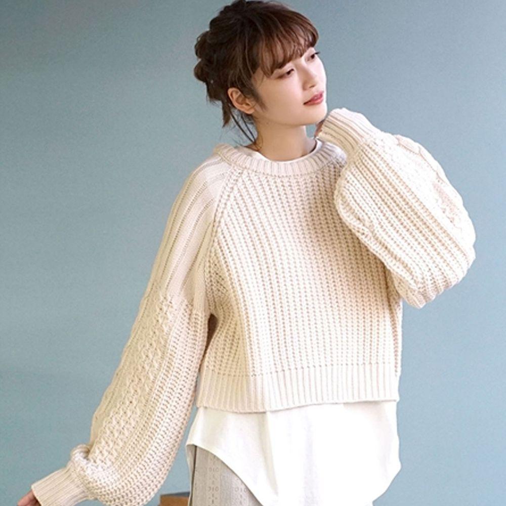 日本 zootie - 交錯拼接設計後綁帶針織毛衣-米