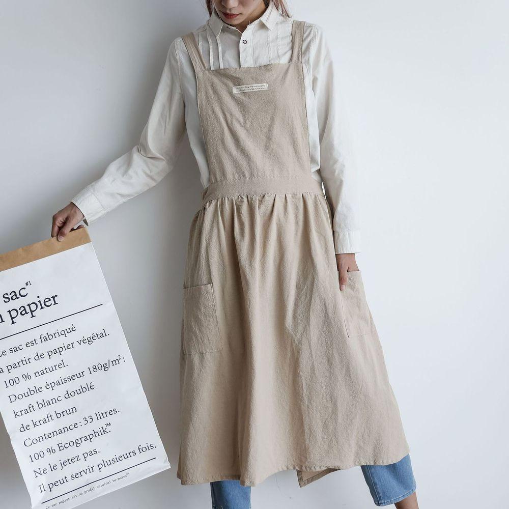 北歐文藝棉麻百褶圍裙-成人款-燕麥色