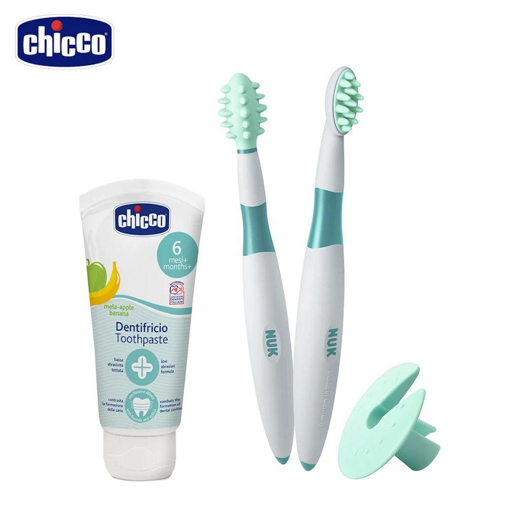 義大利 chicco - 兒童木醣醇含氟牙膏+嬰兒安全分階段固牙練習組-蘋果香蕉