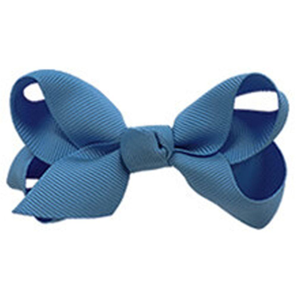 日本 Maison de Ravi - 浪漫蝴蝶結髮夾-知性藍(14-bluegray) (小)