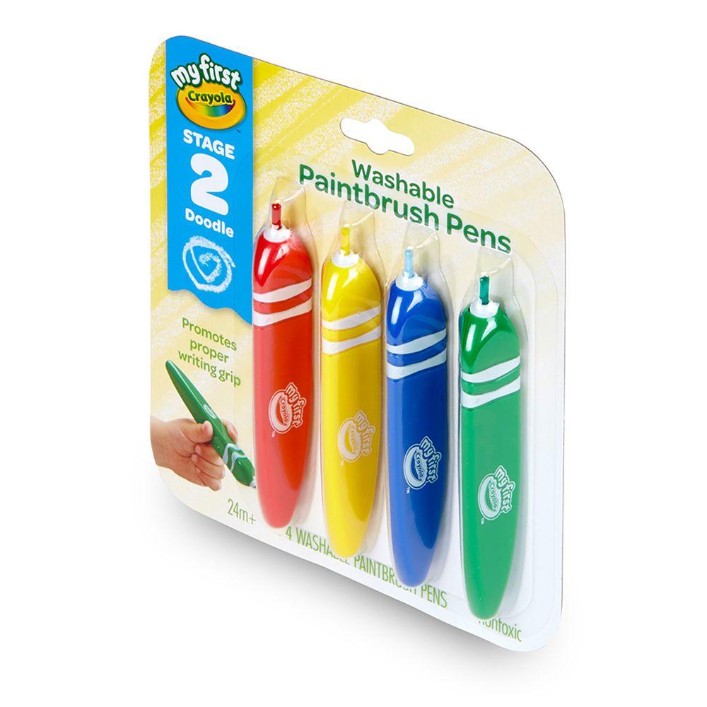 Crayola繪兒樂 - 幼兒可水洗三角筆桿塗鴉軟毛筆4色