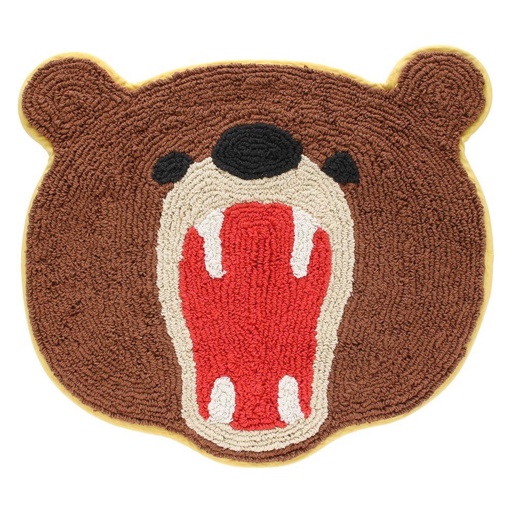 日本 TOMO - 可愛動物打哈欠腳踏墊-熊熊 (約45×51cm)