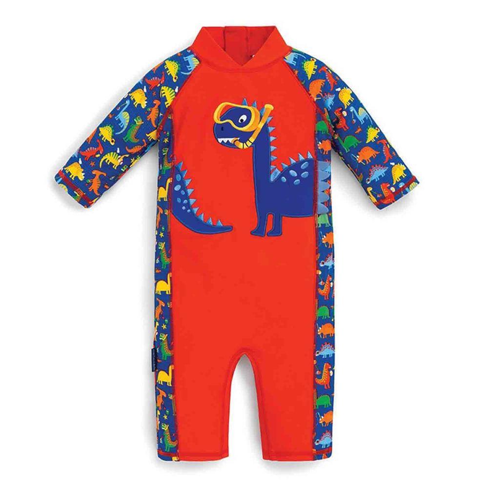 英國 JoJo Maman BeBe - 嬰幼兒/兒童連身式防曬泳裝-恐龍潛水