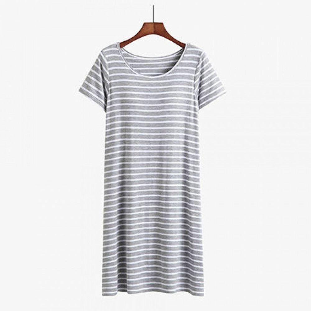 棉質柔軟涼感Bra T條紋睡裙-灰白條紋