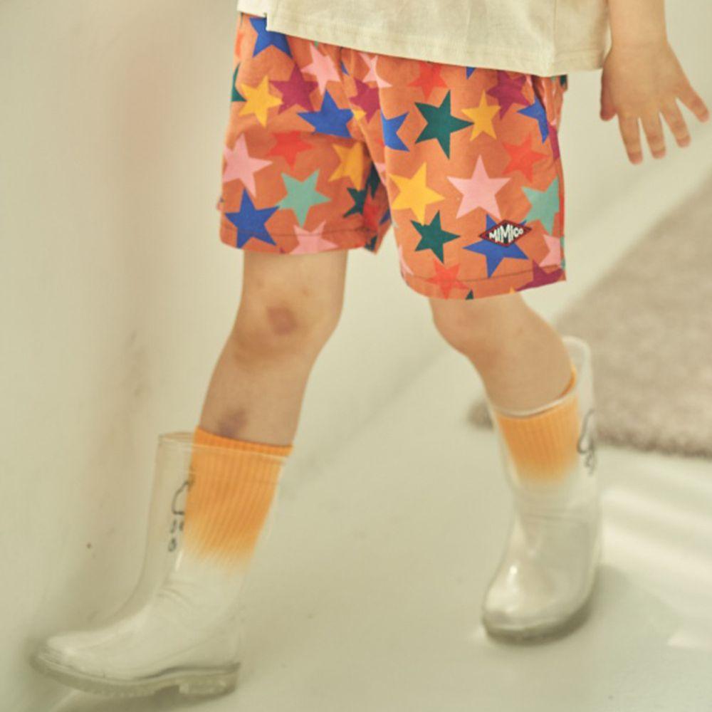 韓國 Mimico - 彩色星星鬆緊褲頭短褲-棕