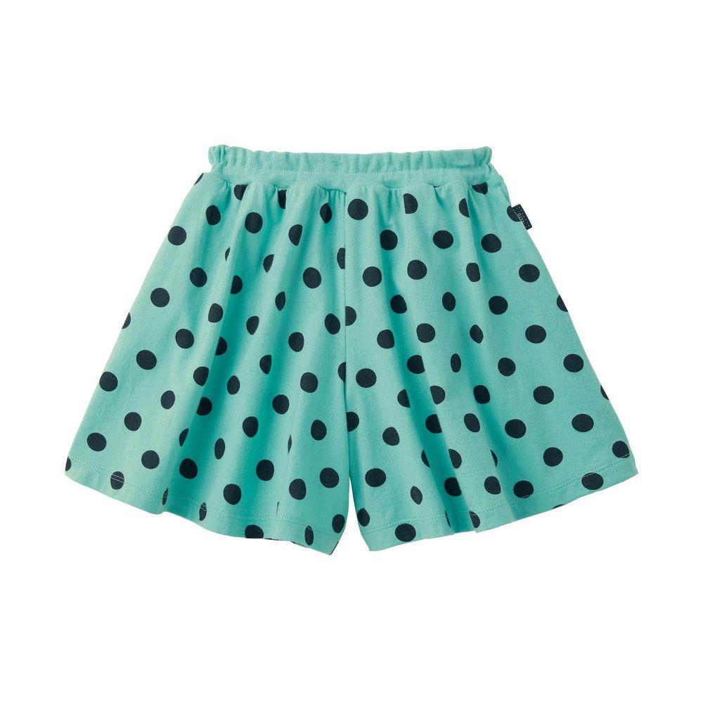 日本千趣會 - GITA 純棉輕薄舒適傘狀短褲裙-點點-薄荷