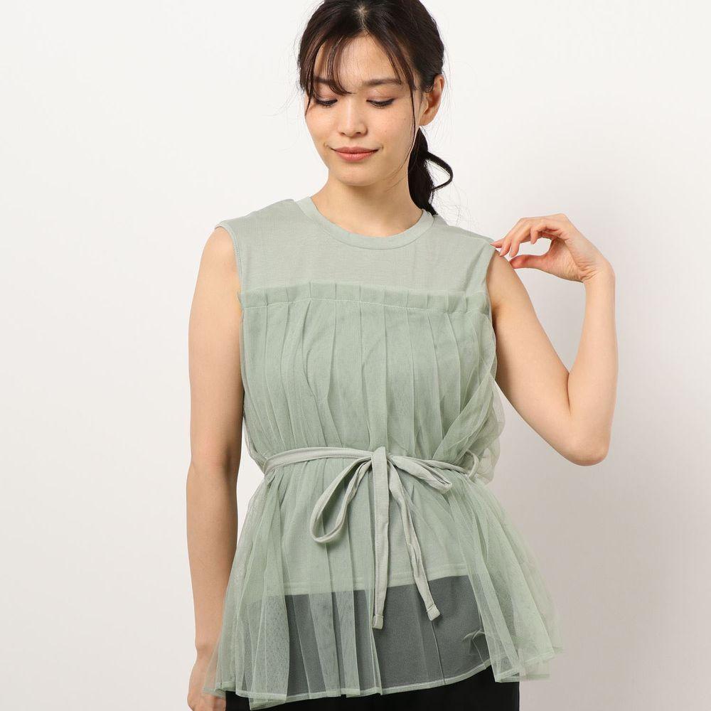 日本 Riche Glamour - 薄紗拼接腰間綁帶無袖上衣-薄荷