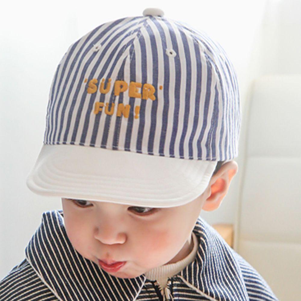 韓國 Babyblee - Super Fun 可調式棒球帽-條紋藍 (頭圍:48-51cm)