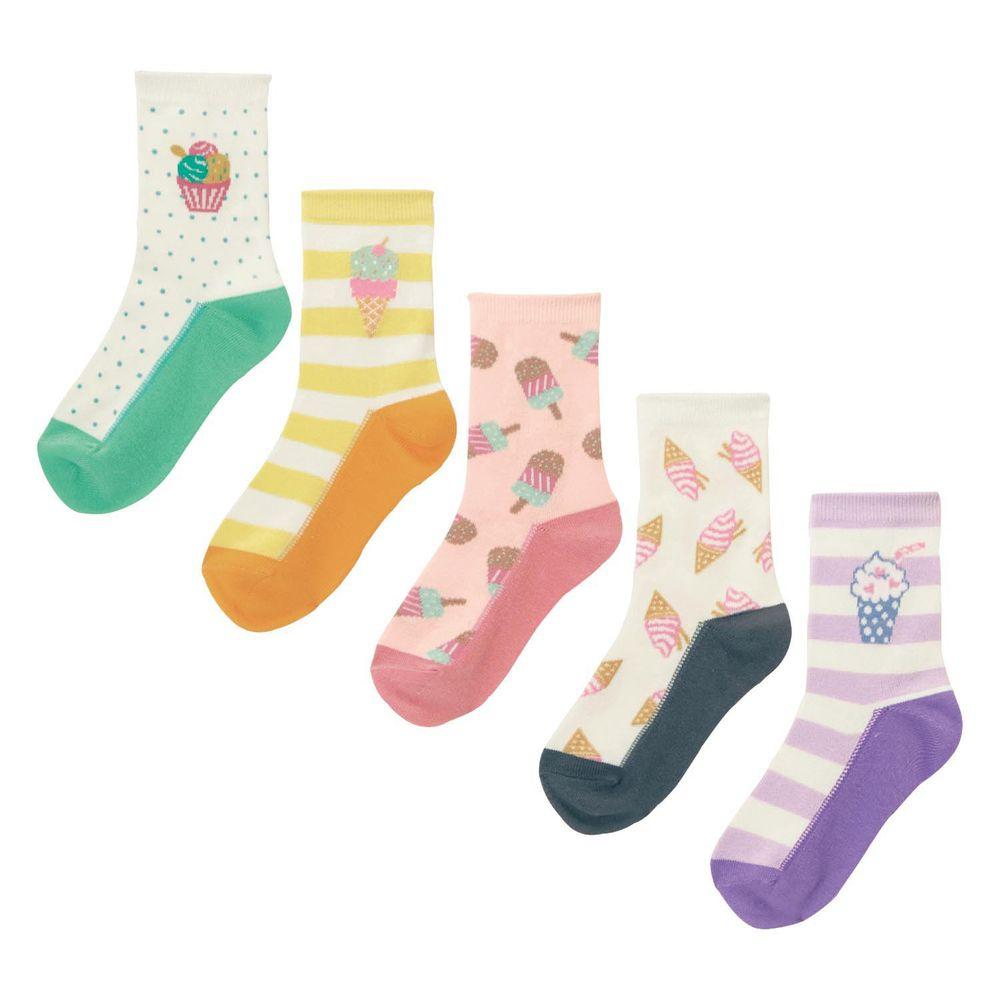 日本千趣會 - GITA 超值中筒襪五件組-甜點