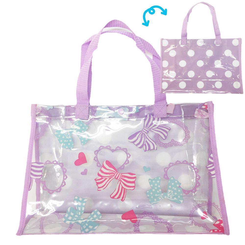 日本服飾代購 - 防水PVC游泳包(雙面圖案設計)-蝴蝶結-紫 (25x36x13cm)