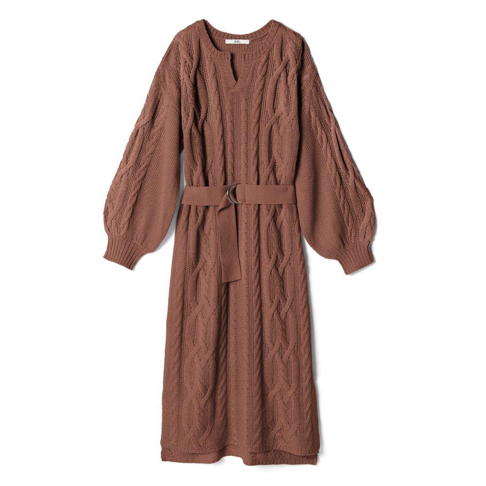 日本 GRL - 小V領顯瘦麻花針織長袖洋裝-深咖啡