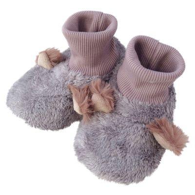 動物造型超柔軟保暖室內鞋(底部止滑)-小貓-灰 (14-16cm)