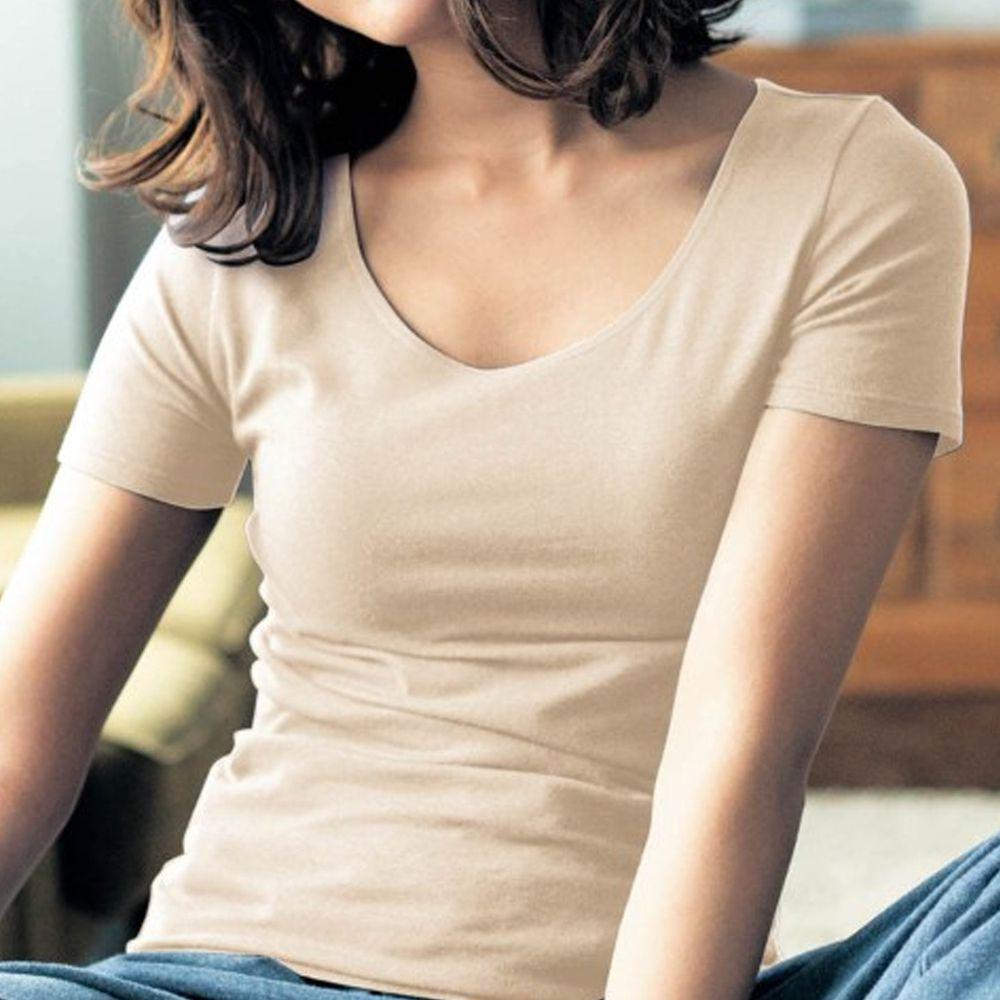 日本千趣會 - 95%棉 (媽媽)換季調節短袖發熱衣-沙杏