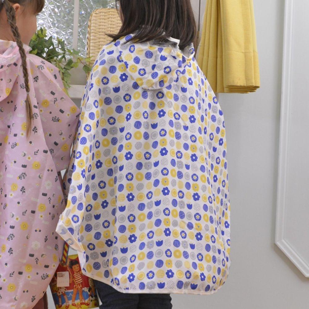 日本 akachan to issyo - 日本製防水斗篷雨衣-幾何小花-藍-附收納袋