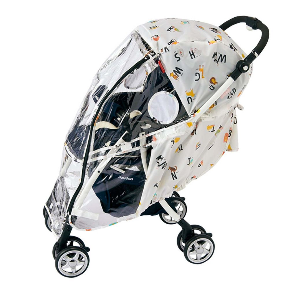 akachan honpo - angelette嬰兒推車用雨罩-動物&數字-咖啡色