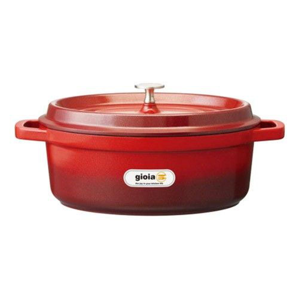日本Gioia - 輕量琺瑯鋁鑄鍋 - 橢圓型-26cm x 20cm-漸層紅