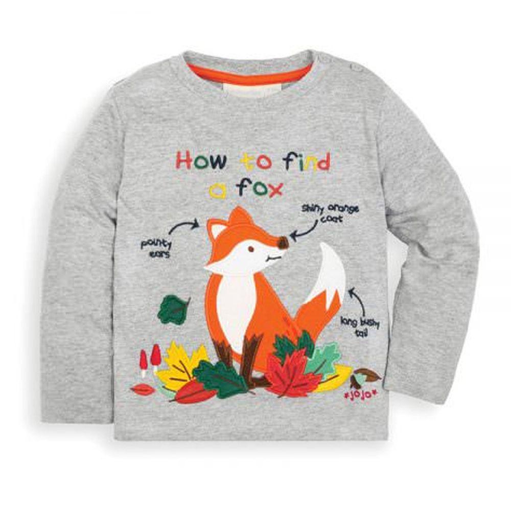 英國 JoJo Maman BeBe - 嬰幼兒100%純棉長袖上衣-狐狸旅行