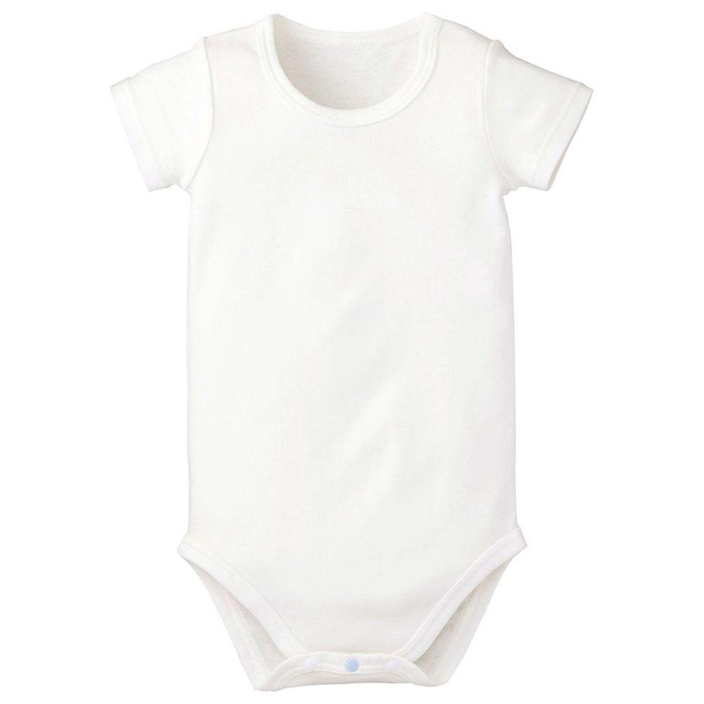 日本 Combi - mini系列-純棉短袖包屁衣-白色