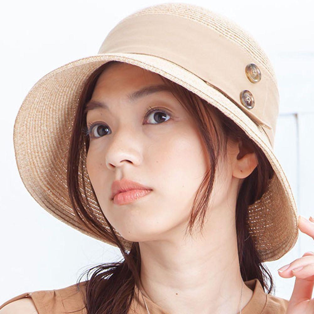 日本 irodori - 【irodori】寬版緞帶雙鈕釦小顏效果草帽-米X杏緞帶 (M(58cm))